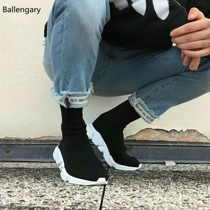 New Fashion Casual Mens Shoes Slip On Knitted Stretch Fabric Sock Booties Extended Sole Platforms Trainers Mens Sneaker Formal Shoes
