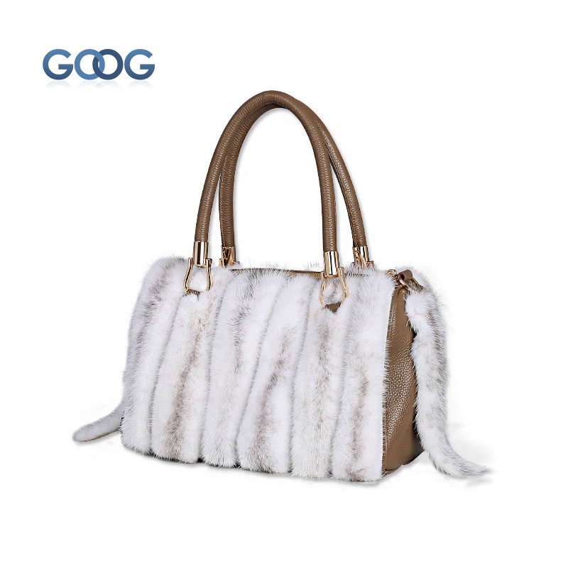 Europe and the United States burst leather fur fox fur handbag fashion trend fur bag water mink cross section square zipper bag europe and the new spring and summer leather handbag bag simple cross head layer cowhide temperament mini bag tote bag