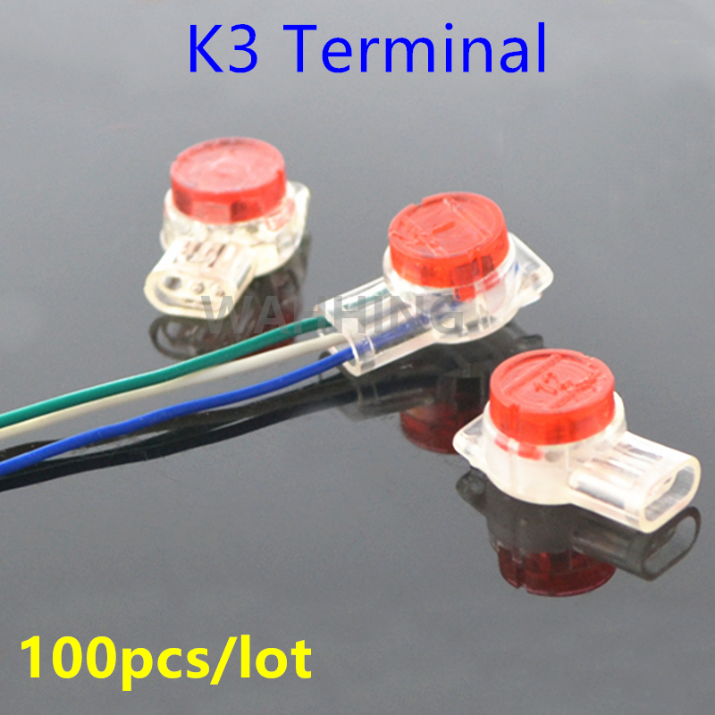 100x K3 Terminal Cable Adapter Mini Wire Terminals Quick-Fit Splicing K3 Connector Terminal Block For Telephone Light HY1126*100 50pcs k3 wire connector rj45 connector crimp connection terminal quick fit splicing waterproof wiring ethernet telephone cable