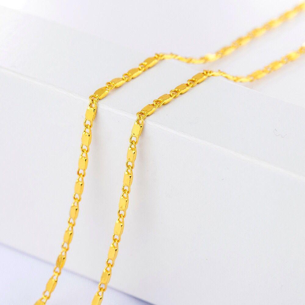 MxGxFam 1,5 мм Маленькая цепочка Ожерелье для женщин и мужчин 16/18/20/22/24/26/28/30 дюймов 24 k чистый золотой цвет для подвесок