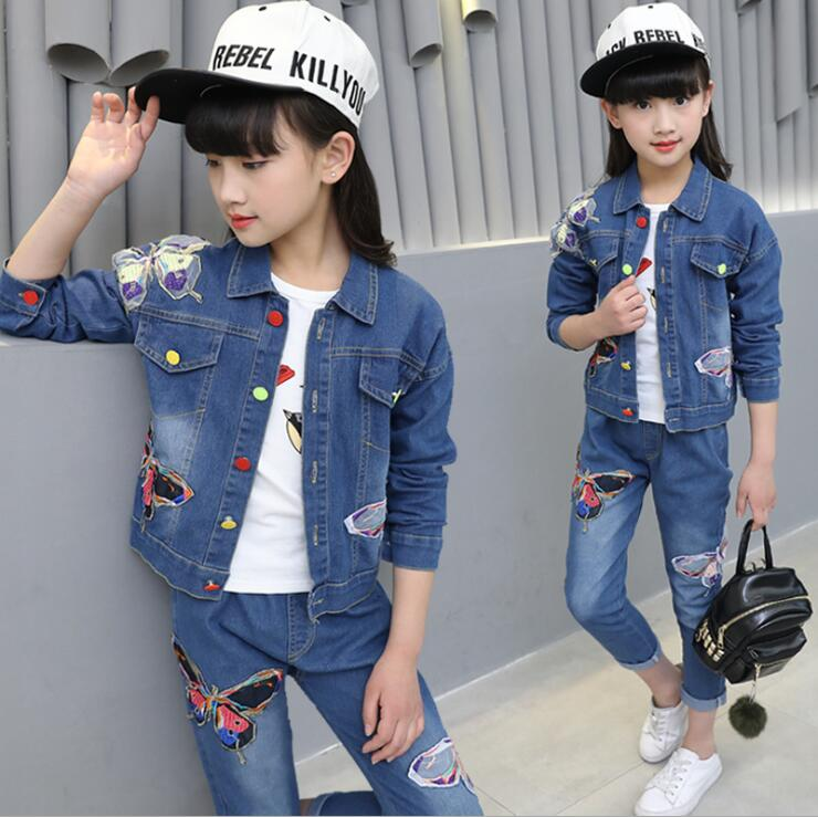 4-13T Jeans Cowboy Girl Denim Suit Spring Autumn Hot Children Suit Girls Cotton Butterflies Beauty Suit 3Piece Denim Set 4-13T Jeans Cowboy Girl Denim Suit Spring Autumn Hot Children Suit Girls Cotton Butterflies Beauty Suit 3Piece Denim Set