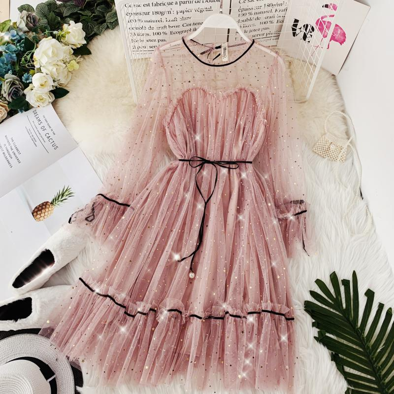 HISUMA spring autumn new women Star sequins gauze flare sleeve lace-up Princess dress female elegant o-neck mesh puff dresses 27