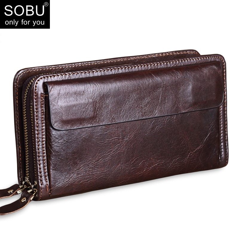 2018 Luxury Cowhide Men Clutch Bag Wallets Genuine Leather Long wallet Business Men Clutches double Zipper Purses Male N094 2017 luxury brand men clutch cowhide wallet genuine leather hand bag classic multifunction mens high capacity clutch bags purses