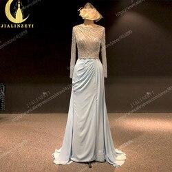Rhine real Pictures глубокий свет небесно-голубой длинный рукав бусины Кристалл сексуальное вечернее платье для выпускного вечера платья Арабский ...