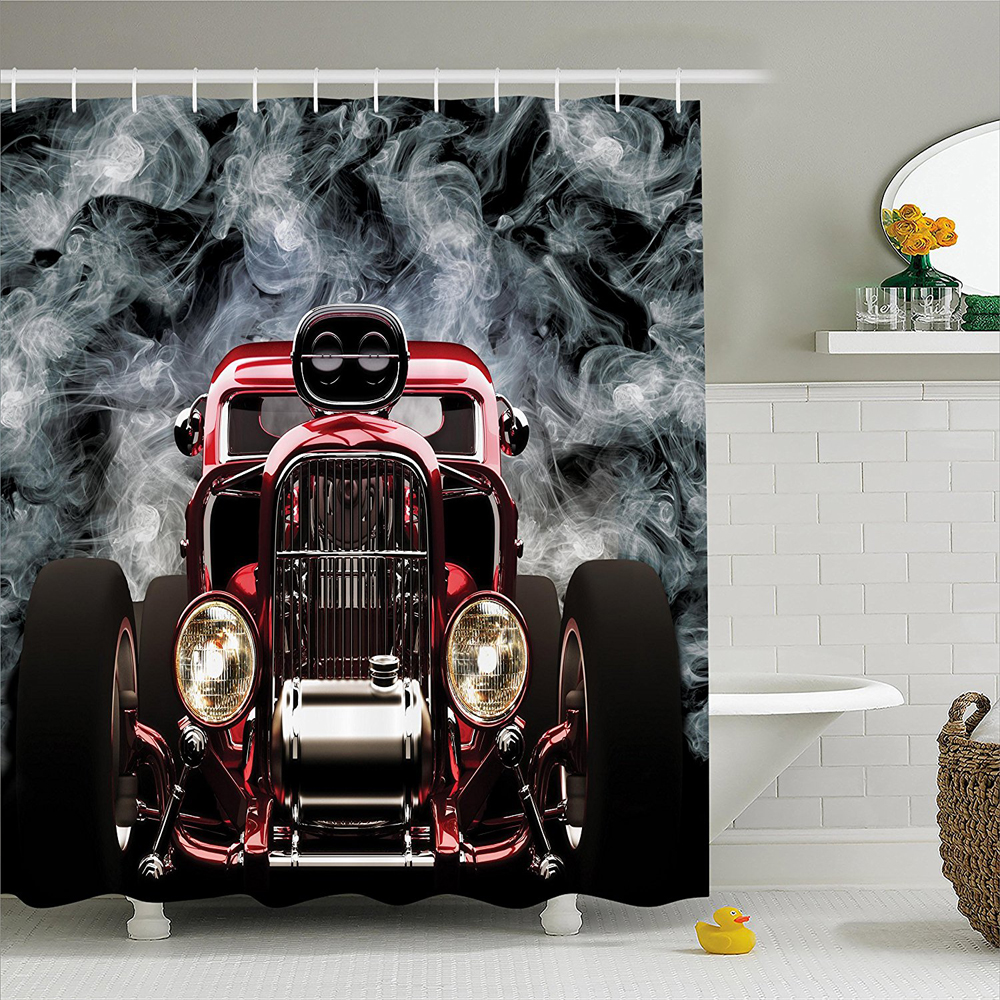 Vintage American Hot Rod Roadster with Smoke Background Race Art Pictures, Polyester Fabric Bathroom Shower Curtain Set
