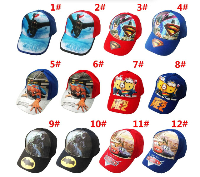 f760e3ae0b8 Hot Sale Children Hat Cotton Cartoon SpiderMan Cars SuperMan BatMan Print  Cap Girls Boys Sun Hat Baseball Cap Spring Summer Hats