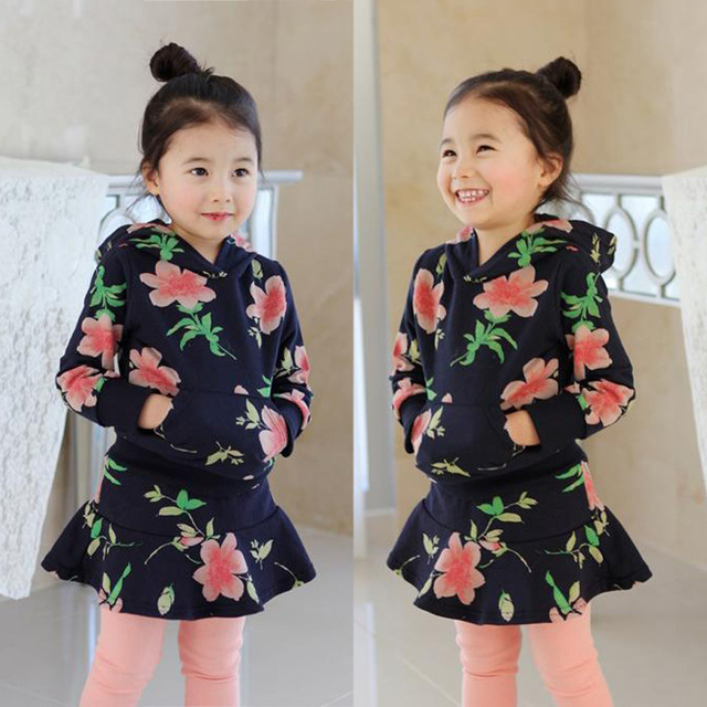 2016 Hoodies do bebê da menina + Saia calças 2 pcs conjuntos de roupas Conjuntos de Roupas Meninas Primavera outono Crianças Tracksuits Roupas