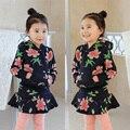 2016 baby girl Sudaderas Con Capucha + pantalones de La Falda 2 unids ropa Muchachas de los sistemas Conjuntos de Ropa de Primavera otoño de Los Chándales de los Niños Ropa