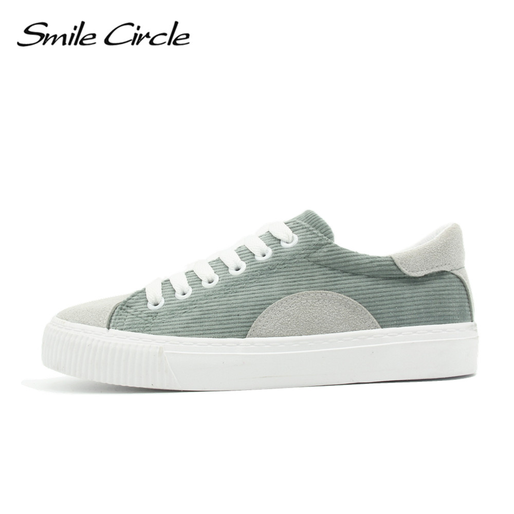 Smile Circle 2018 Spring Autumn Shoes For Women Lace-up Flats Shoes Women's sneakers Fashion Casual Shoes Girls Student shoes xiaying smile woman sneakers shoes women flats spring summer thick sole embroider rose lace up black white student women shoes