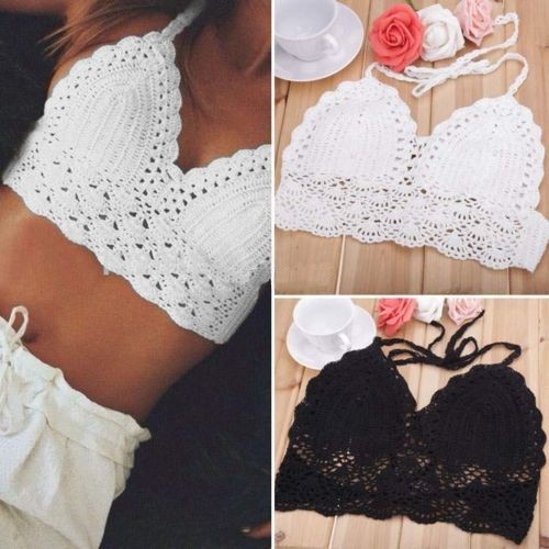 Sexy Women Crochet Crop Top Summer Camisole Camis Sexy Hollow Out V-Neck Crochet Bustier Crop Tops Tees Bra Top