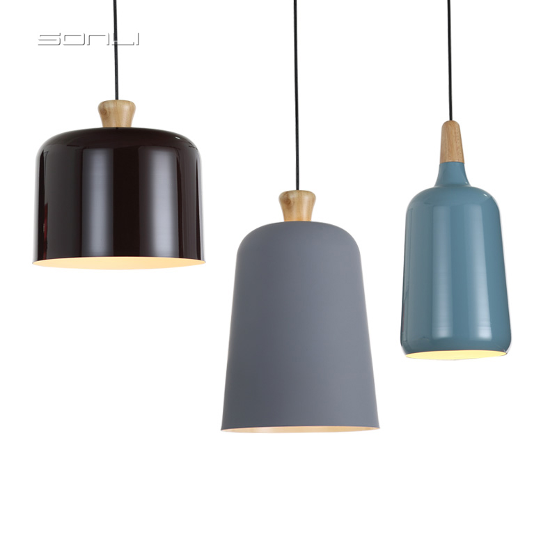 Nordic Pendant Lights Wood Aluminum Lampshade Industrial Lighting Loft Lamparas Dining Room Pendant Lamp E27 Light FixturesNordic Pendant Lights Wood Aluminum Lampshade Industrial Lighting Loft Lamparas Dining Room Pendant Lamp E27 Light Fixtures