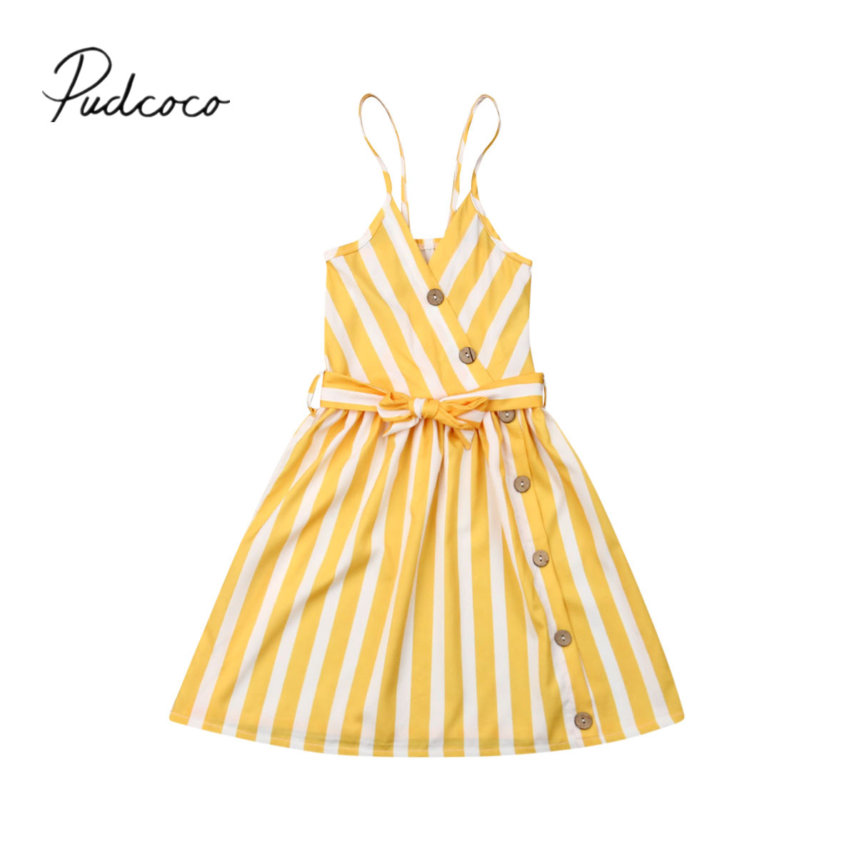 Stripe Dress Summer Clothing Toddler Baby-Girl V-Neck Yellow Sleeveless Kid Backless