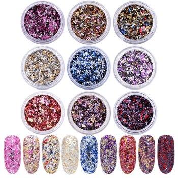 Lentejuelas resplandecientes para uñas, copos de polvo en polvo, lentejuelas variadas, escamas irregulares para decoración de uñas, para esmalte de Gel UV