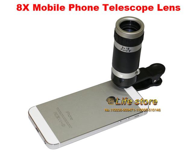 8x zoom óptico del teléfono móvil lente del telescopio clip universal para samsung galaxy j3 emergen, j3 (2017), para huawei p8 lite (2017)