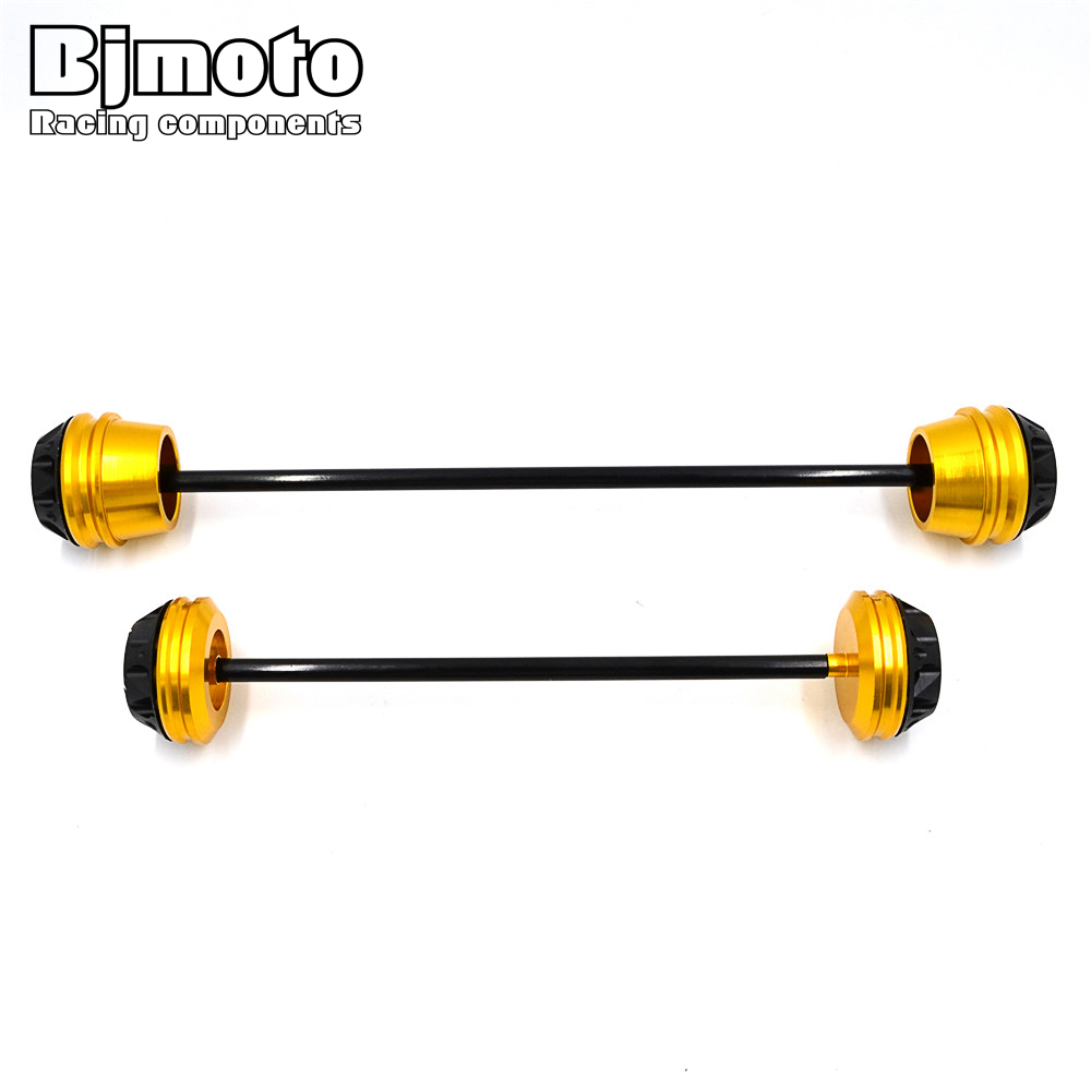 BJMOTO MT 07 Motorbike Pair Rear Front Axle Fork Crash Slider Protector Cap Falling Protection For YAMAHA MT-07 MT07 2013-2017 new parts for yamaha mt07 mt 07 2013 2014 2015 aluminum motorcycle cnc crash pads frame slider protector falling protection