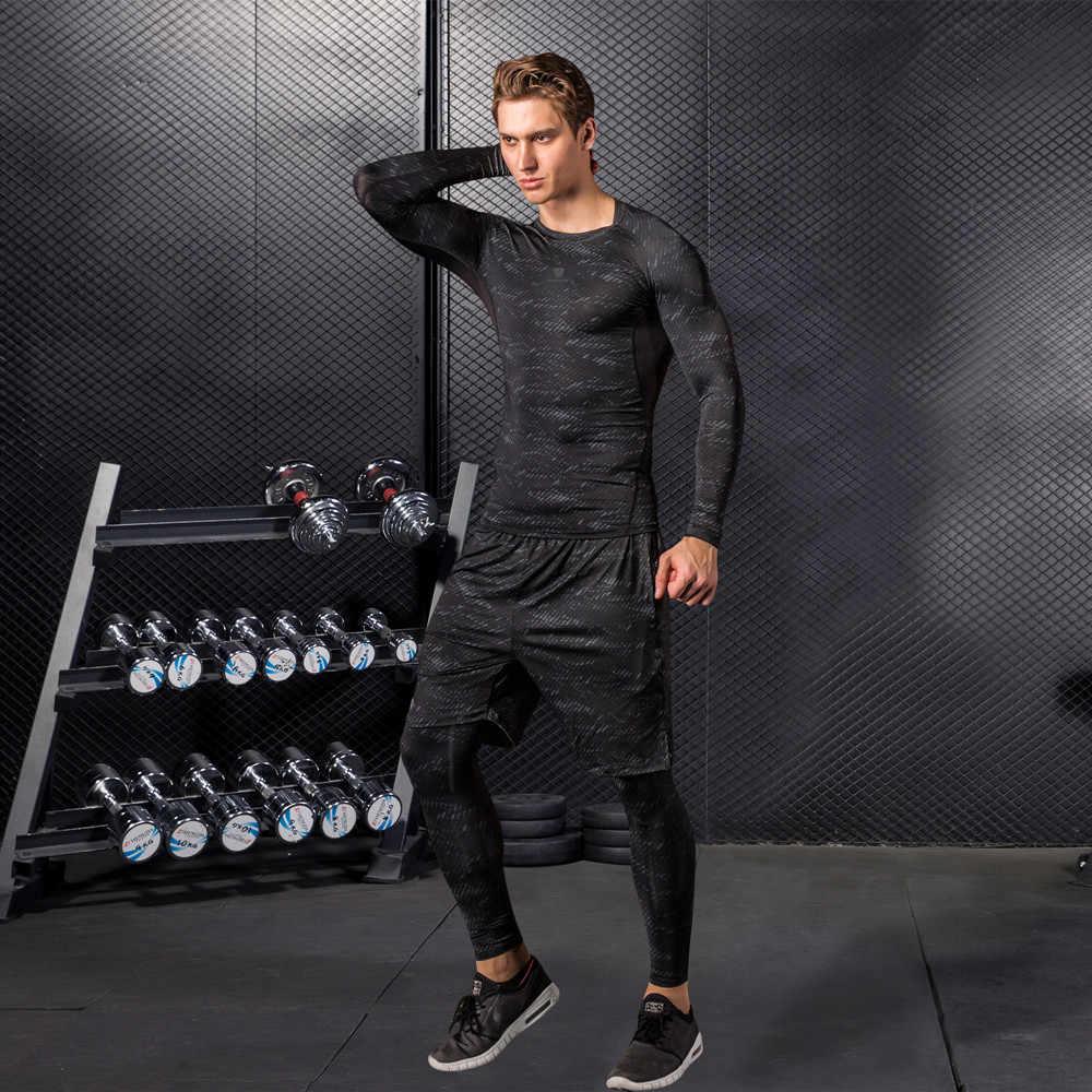 高品質圧縮男性のスポーツスーツ速乾ランニングセット服スポーツジョギングトレーニングジムフィットネスジャージを実行している