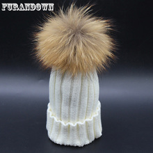 2017 Fashion Children Baby Winter Raccoon Fur Hat 15cm Fur pompom Beanies Cap Natural Fur Hats