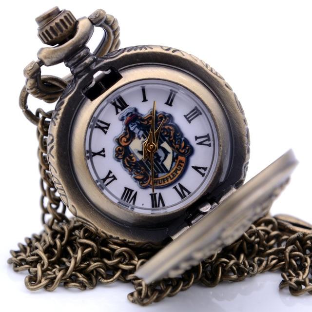 Small Size Antique Steampunk Harry Potter HUFFLEPUFF Mens Quartz Pocket Watch Pe