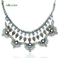 Lady Vintage Za Necklace 2016 Flower Statement Chokers Big Vintage Tribal Collar Pendant Necklace Jelly Stone