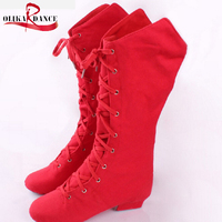 Red Teaching Jazz Dancing Shoes Children Leather Split Sole Long Boots Jazz Dance Shoes Canvas Women
