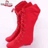 Enseñanza rojo zapatos de baile de jazz niños doble suela De Cuero botas largas mujeres de los maestros de danza jazz zapatos de baile de lona de las zapatillas de deporte