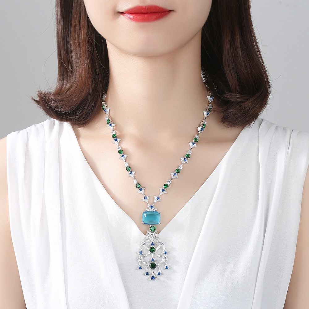 Image 2 - LUOTEEMI New Ethnic Chandelier Necklace for Women Luxury CZ  Jewelry for Wedding Party Double Color Colar Feminino Christmas  GiftPendant Necklaces