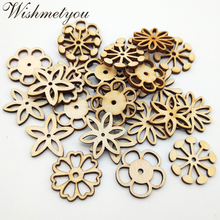WISHMETYOU 50pcs 30mm Mix Hollow Flowers Pattern Natural Wood Diy Crafts For Decoration Home Handmade Making Sewing Supplies New