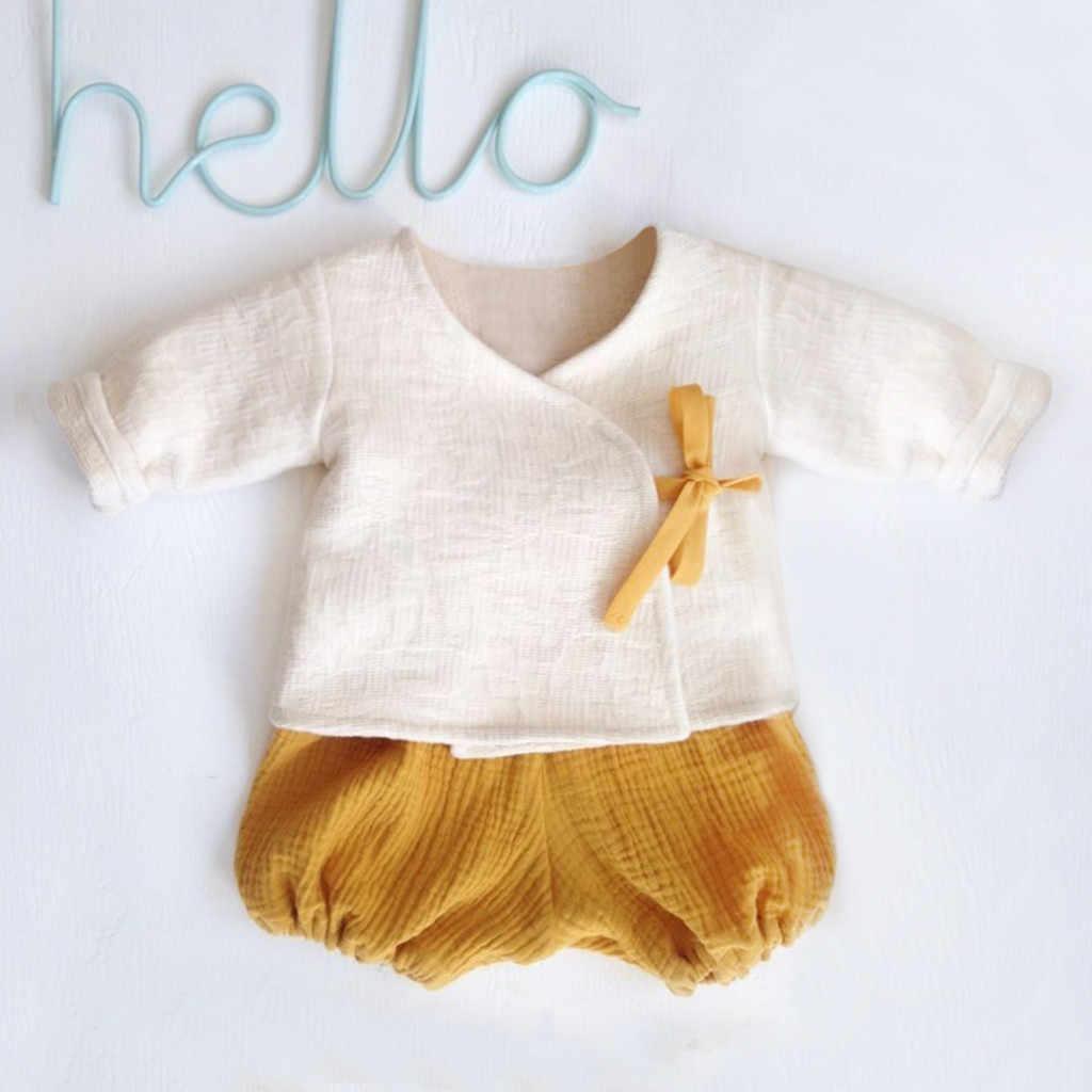 2019 bambino appena nato ragazzo e una ragazza vestiti set 0-24 mesi infantile del ragazzo e della ragazza Solido Kimono T-Shirt Magliette E Camicette shorts Outfits abbigliamento