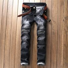 Aukštos kokybės vyriški drabužiai, supjaustyti dideli baikerių džinsai, medvilniniai juodi, plonas, tinkamas motociklas, Jean vyrų derliaus nuogi kandikai, džinsiniai kelnės
