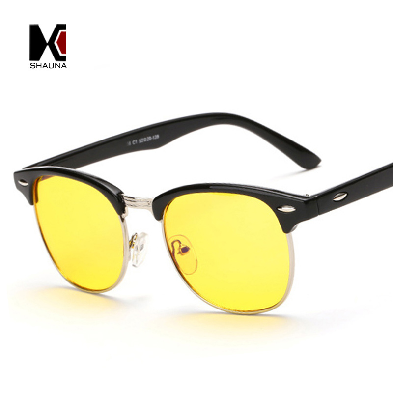 SHAUNA Half Frame Blue Rays Protection Anti-fatigue Reading Glasses Yellow Tint Lens Night Vision Driving Glasses