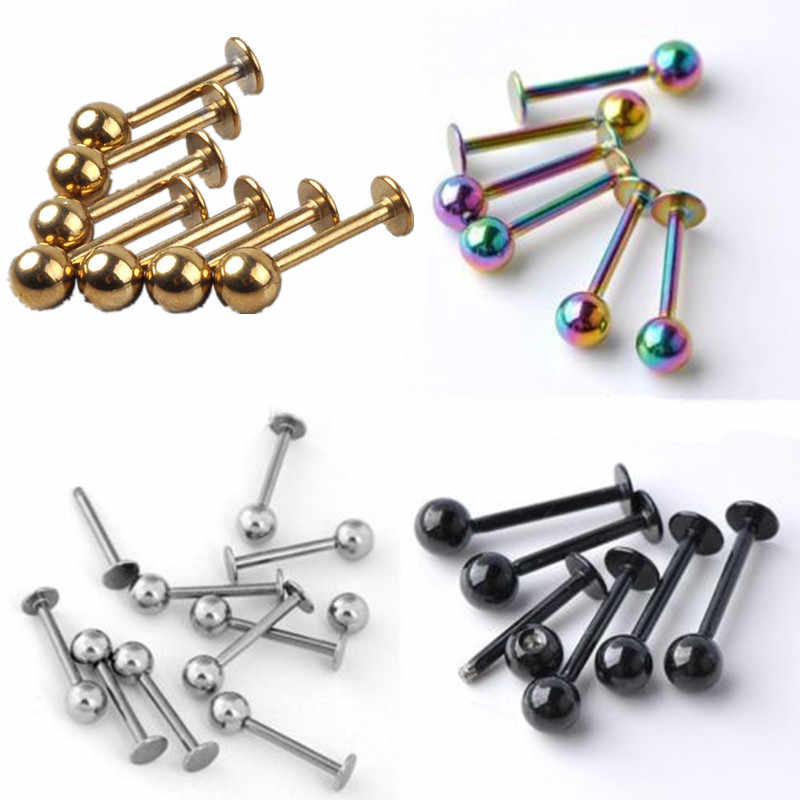 5pcs 16G 18G 3/4mm Ball Titanium Stainless Steel Labret Lip Stud Chin Eyebrow Nose Stud Ring Bar Tragus Piercing Body Jewelry