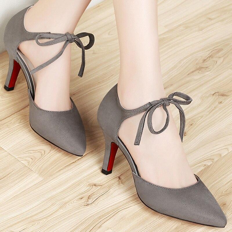 Pointu grey Mode Talons À forme Hauts Femmes Mince Sexy Chaussures Bout Plate Black Lacent Des Pompes x1w1Zqz4g