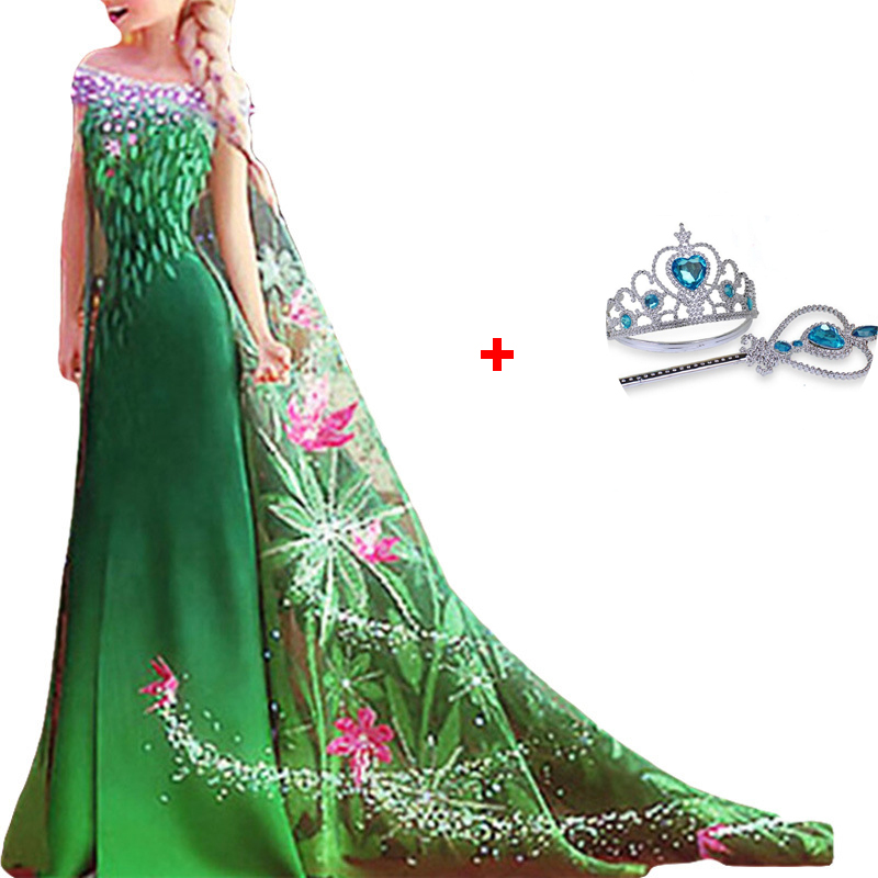 New Green Anna Elsa Cosplay Fancy Dress New Summer Girl Party Snow Queen Short Sleeve Lace Kids Clothing with Crown Magic wand