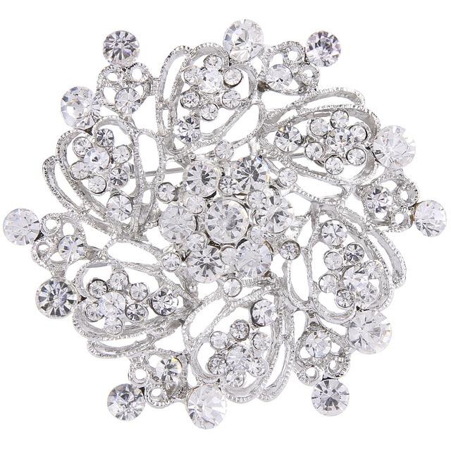 Bella Clear White Nupcial Coroa Multi Rhinestone Pinos Broche Buquê de Cristal Austríaco Tom de Prata Broches Para O Casamento Mulheres