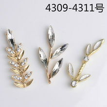 50pcs/lot Multi style Fashion Alloy Gold Color Crystal Leaf Branch (no hole) Charms For DIY Jewelry Handmade Making(China)