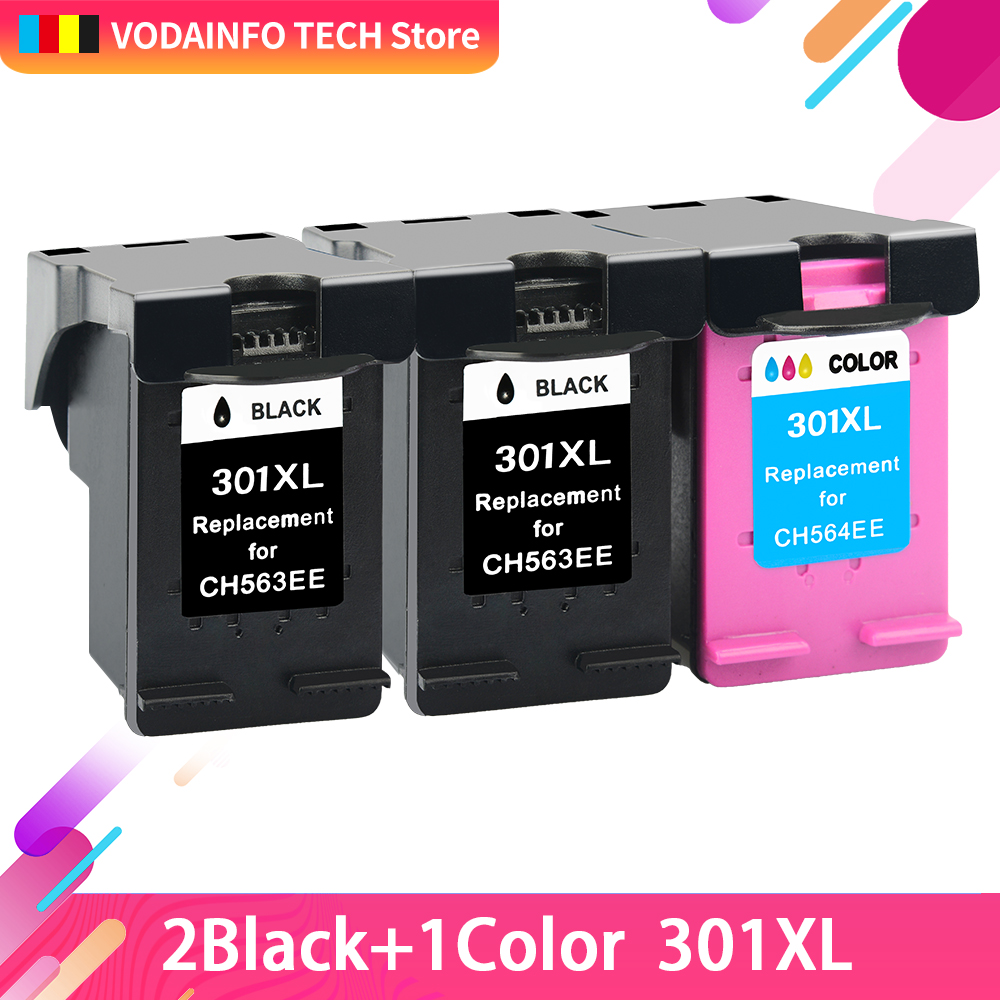 QSYRAINBOW  Replacement For HP301 HP 301 XL Compatible For HP 2510 3510 D1010 1510 2540 4500 1050 2050 2050s  Printer