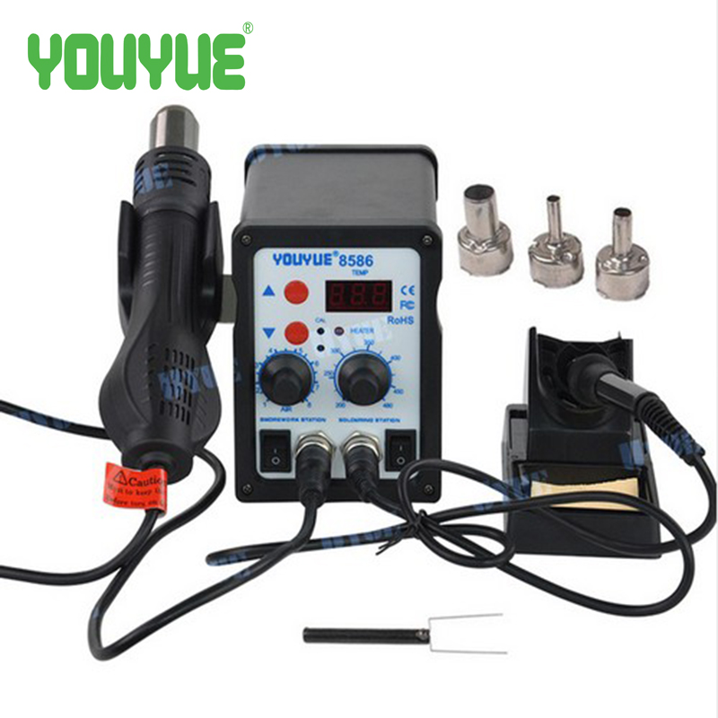 700W Solder Rework Station Hot Air Heat Gun Soldering Iron For Welding Repair YOUYUE 8586 heat gun hot air gun handle for youyue 858 858d 8586 rework soldering station hot air gun 8 holes