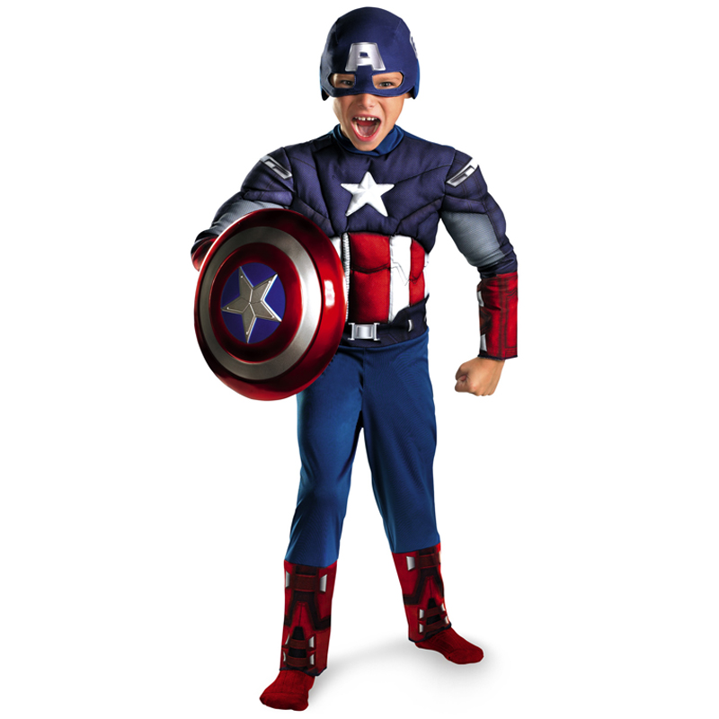 Direct Selling Kinder Avengers Captain America Muscle Cosplay Fancy Halloween Party-kostuums