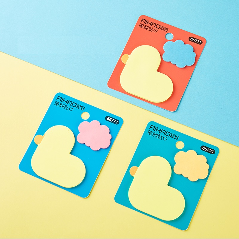 24 pcs/Lot Cartoon yellow duck sticky note Color cloud memo stickers Post guestbook Stationery Office School supplies F902