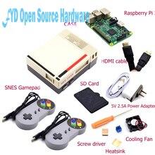 1set NES Case with Raspberry Pi 3 16G Card Fan 2pcs SNES Gamepad Power Adapter Heatsink