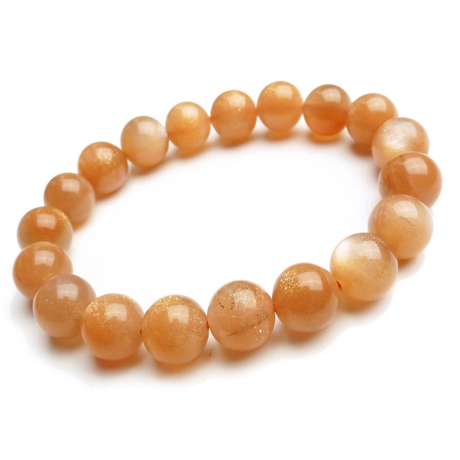 a0ccdec446e3 11mm genuino naranja natural Sunstone pulseras para las mujeres cristal  redondo Cuentas joyería charm pulsera del estiramiento