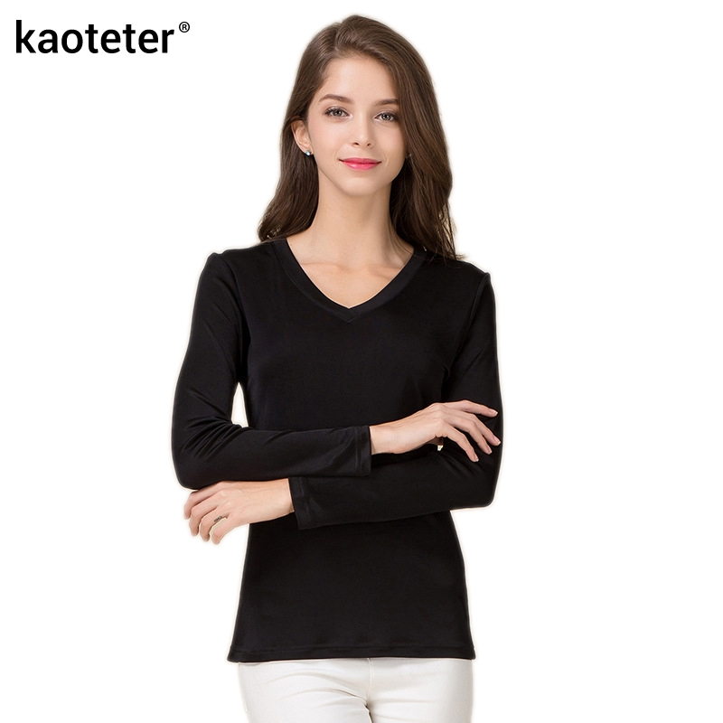 100 pure silk women v full sleeve t shirts 2016 new for Full sleeve t shirts online