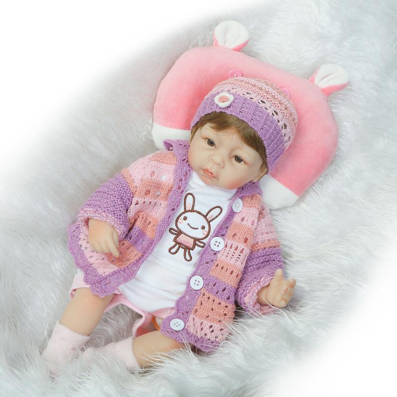 ФОТО 45cm Baby Doll Kawaii 17inch Sweater Soft Silicone Reborn Doll Toys Newborn Bebe Bonecas Lifelike Relistic Dolls Brinquedos NEW