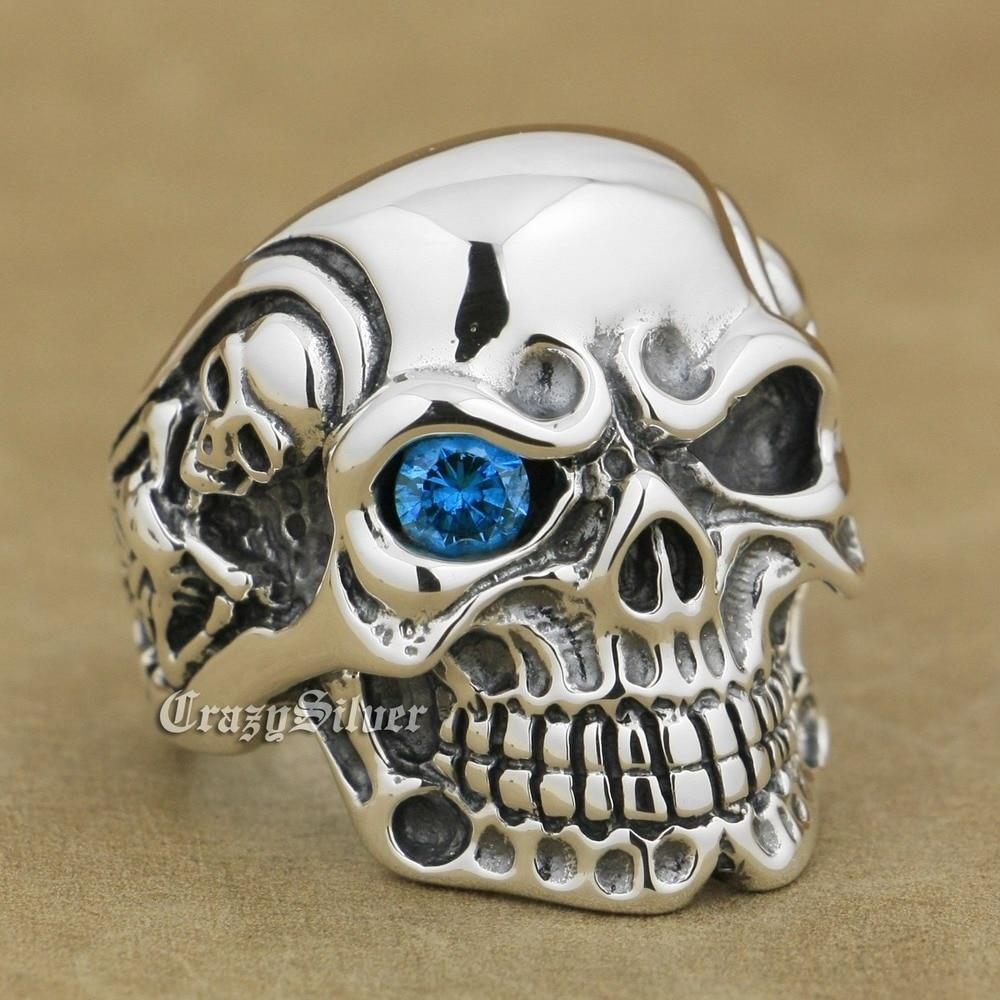 Blue CZ Eye Titan Skull 925 Sterling Silver Biker Ring 8V105 US Size 7.5~13 titan euro silver 63ач обр