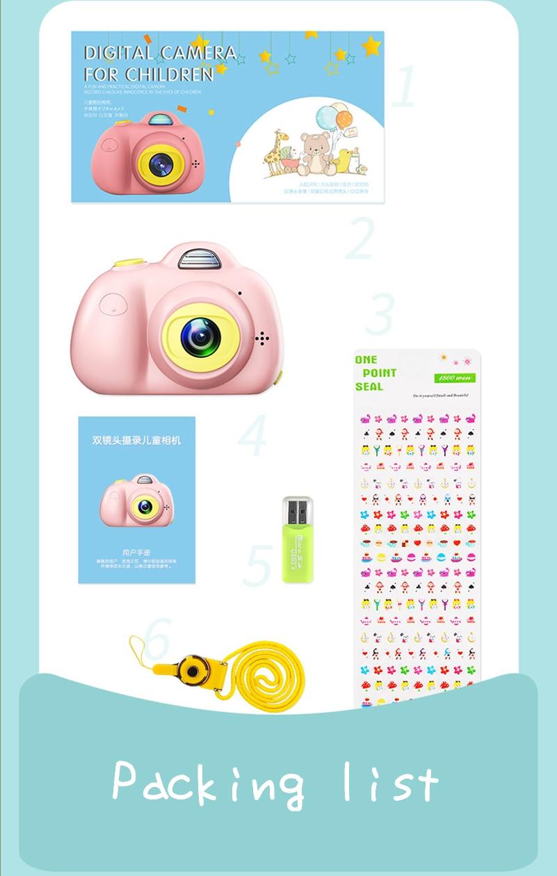 2.0 pouces 1080 P HD Mini caméra numérique enfants enfants caméra vidéo numérique jouet cadeau d'anniversaire caméra sport Mini caméra pour enfants - 5