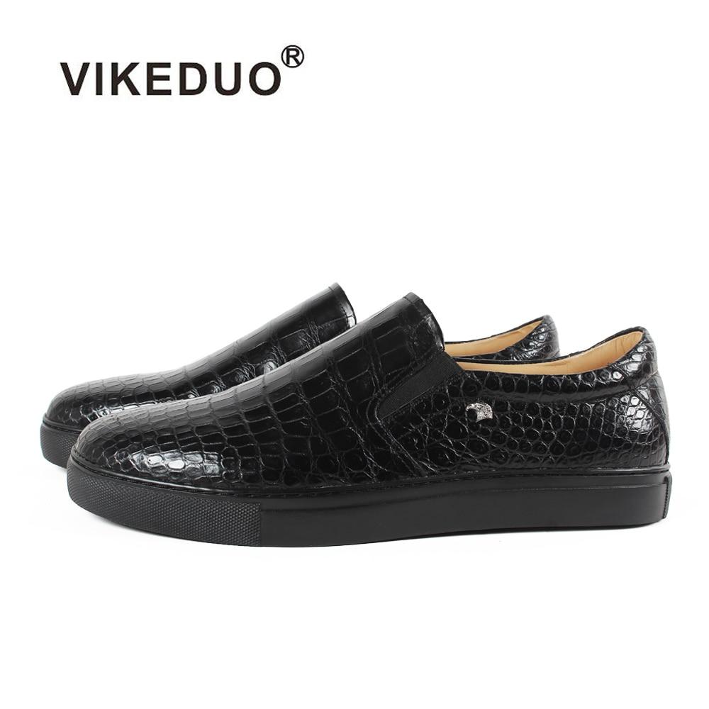 Vikeduo 2018 Classic Crocodile Skin Handmade Designer Alligator Fashion Genuine Leather Shoes Luxury Leisure Men's Casual Shoes 247 classic leather