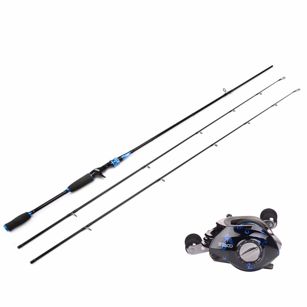 HiUmi 2 Pieces Casting Fishing Rod Pole With Baitcasting Reel Fishing Rod with Two Tips M ML Lure Fishing Rod and Reel Combo hiumi 2 pieces casting fishing rod pole with baitcasting reel fishing rod with two tips m mh lure fishing rod and reel combo