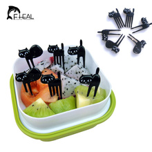 FHEAL New 6Pcs Mini Animal Fork Fruit Picks Cute Cartoon Black Cat Children Fork Toothpick Bento Lunch Box Decor Accessories