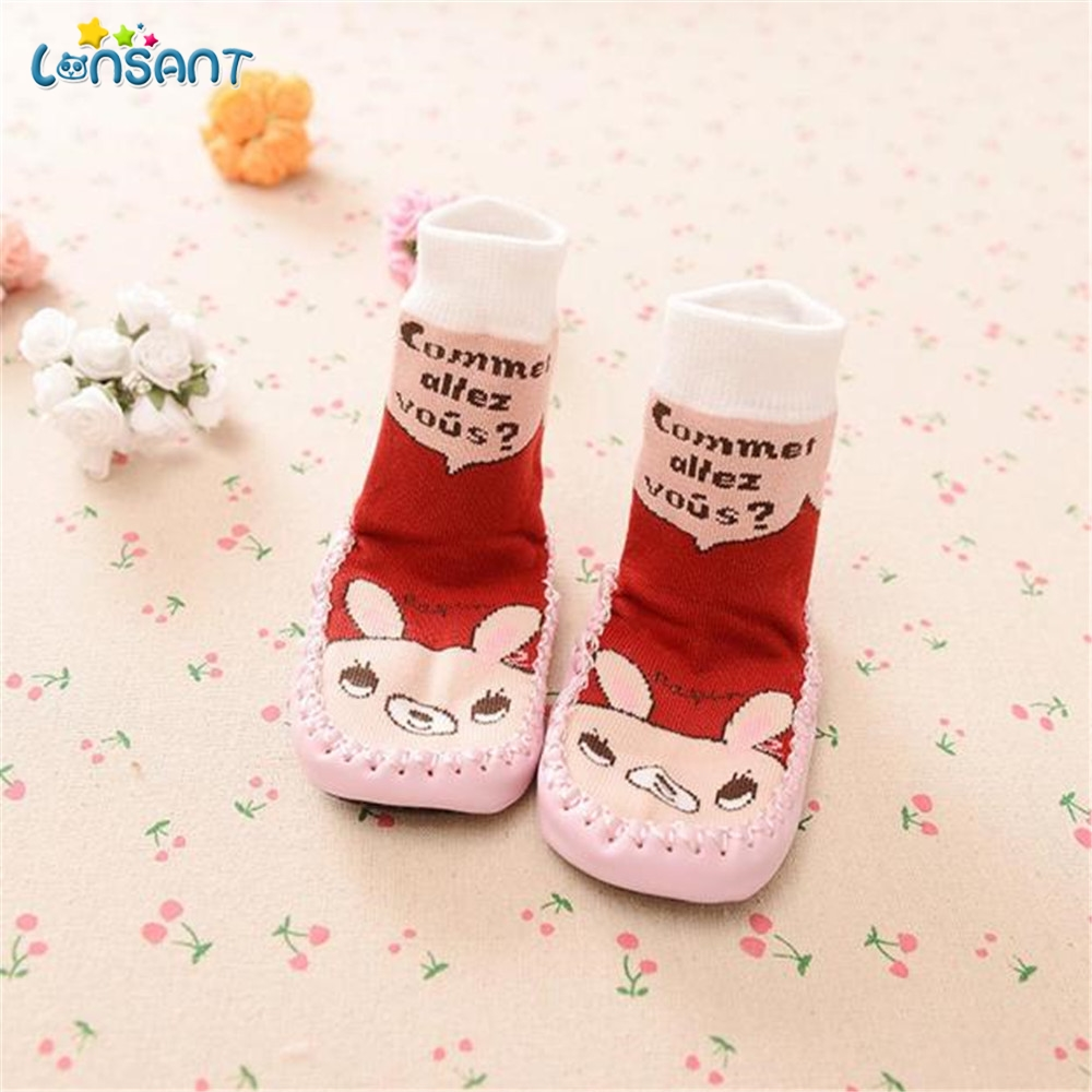 LONSANT Cartoon Kids Toddler Baby Anti-slip Sock Shoes Boots Slipper Socks First Walkers Baby Ankle Snow Crib Booties