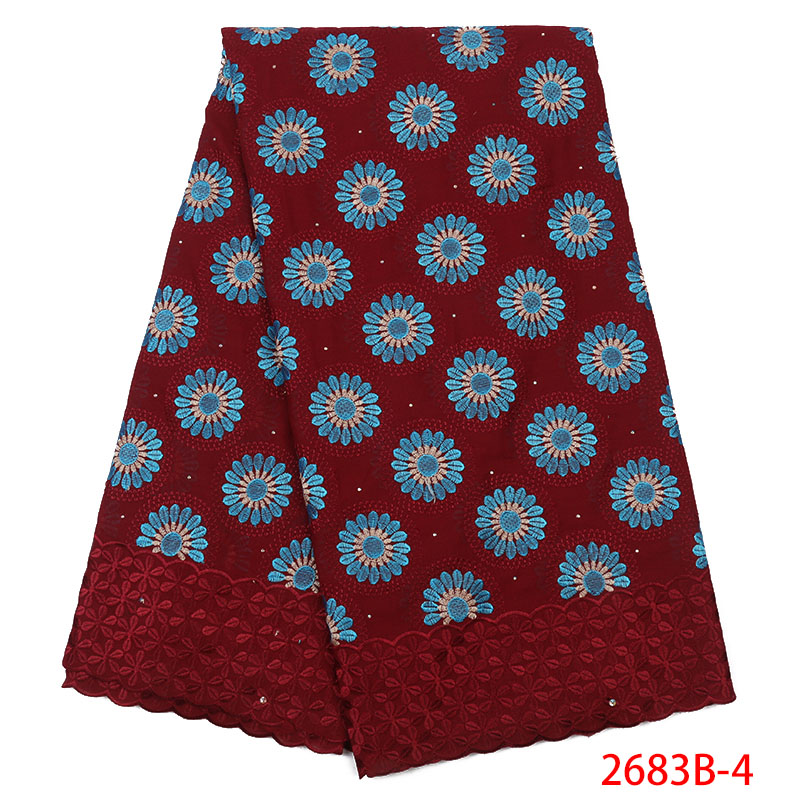 2019 Swiss Voile Laces Best Selling African Lace Fabric High Quality Nigerian Embroidery Fabric Lace With Stones KS2683B-4